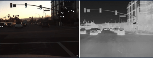 Thermal cameras are particularly effective at night, although they need help telling the color of stoplights.