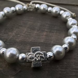 Handmade christian silver glass prayer beads bracelet