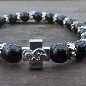 Handmade christian black glass prayer beads bracelet