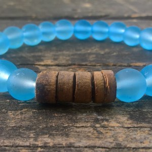 Handmade blue glass bracelet with coconut beads