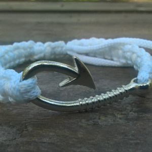 Handmade white fish hook bracelet
