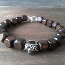 Handmade christian brown wood cube prayer beads bracelet