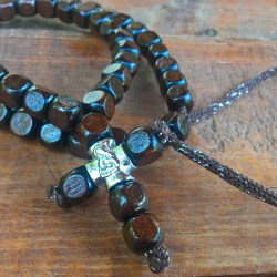 Handmade christian brown prayer beads necklace with cross