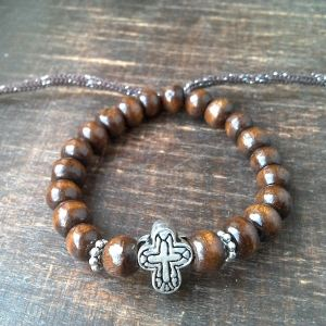 Handmade christian brown prayer beads bracelet