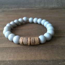 Handmade gray glass bracelet with coconut beads