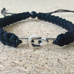 Handmade black belt buckle bracelet