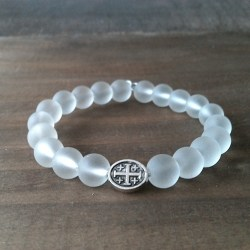 Handmade christian white glass prayer beads bracelet