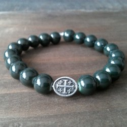 Handmade christian dark green glass prayer beads bracelet
