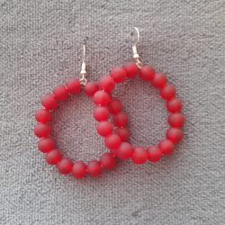 Handmade beaded earrings red glass beads