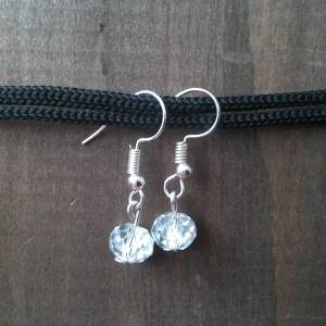 Handmade beaded earrings, transparent glass bead