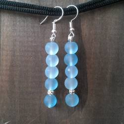 Handmade beaded earrings blue light glass beads