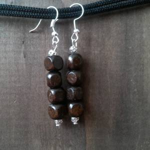 Handmade earrings, brown wood beads