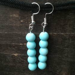 Handmade beaded earrings turquoise glass beads
