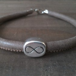 Handmade natural leather bracelet, infinity symbol bead