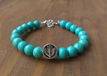 Handmade turquoise gamstone anchor beaded bracelet