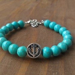 Handmade turquoise gamstone anchor beaded bracelet