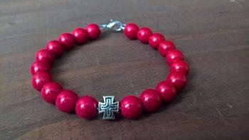 Handmade christian red prayer beads bracelet