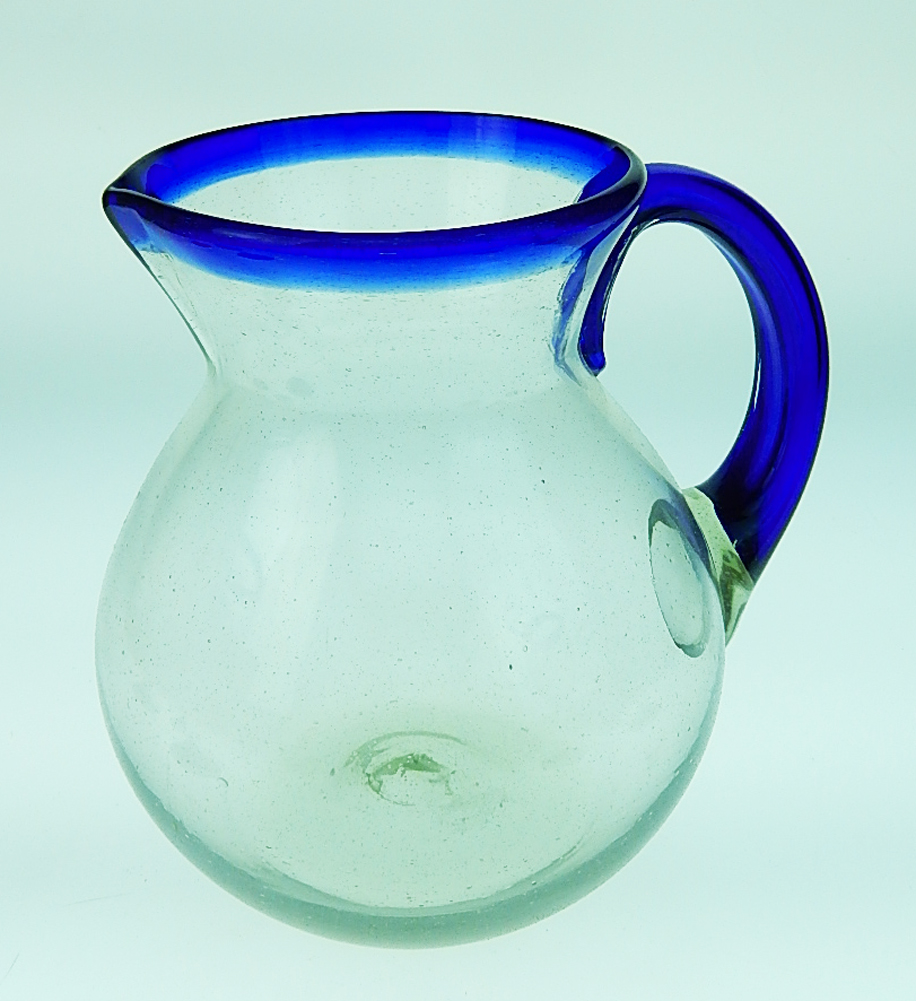 Mexican Glass Pitcher Blue Rim 80 Oz Bola Mexican