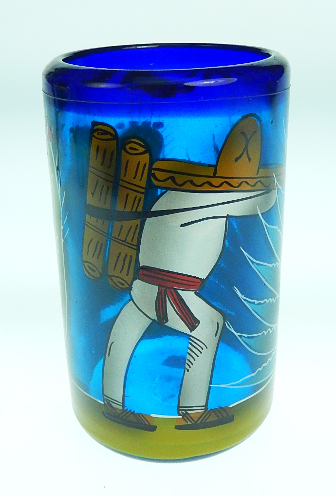 Mexican Glass Set Six Tumblers And Pitcher Hand Painted