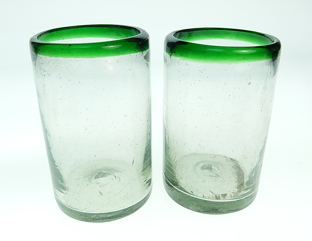 Mexican Glass 15oz Green Rim Made In Mexico With Recycled