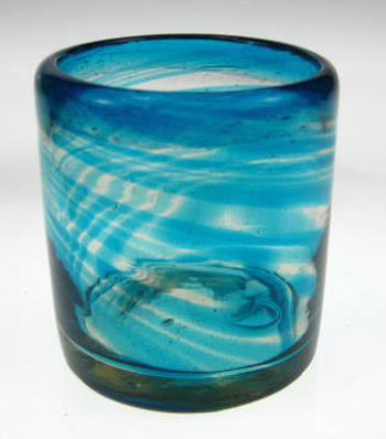 Mexican Drinking Glass Turquoise Swirl Tumbler 10 Oz