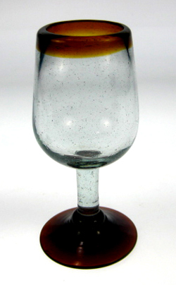 Wine Glass Hand Blown 11oz Amber Rim Made In Mexico With