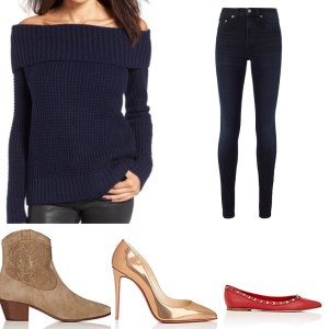 Navy Monochromatic Look YSL Boots, Christian Louboutin Pumps Red Valentino Flats