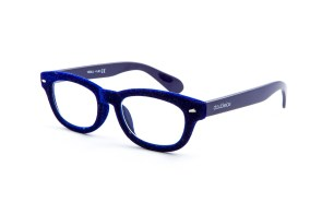 Blue velvet reading glasses