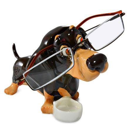 Dachshund Eyeglass Holder shown with Glasses