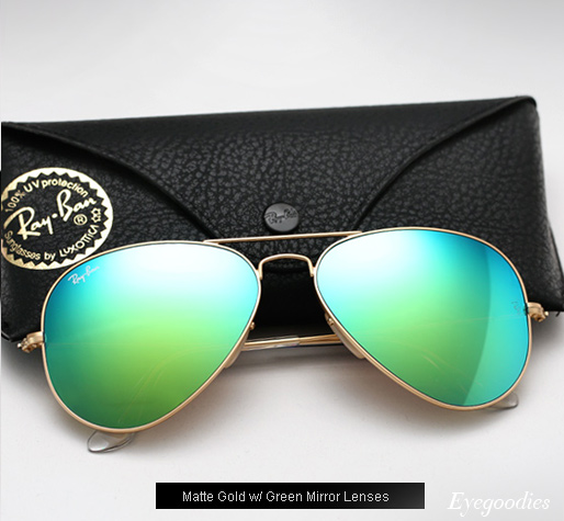 Ray Ban Aviator RB 3025 Colored Mirror sunglasses - Green