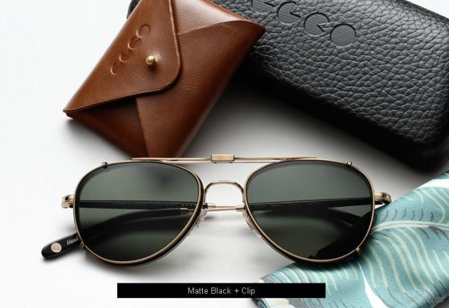 Garrett Leight Linnie eyeglasses - Matte Black + Clip