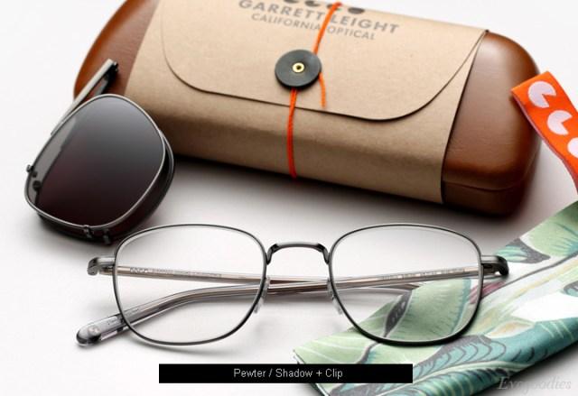 Garrett Leight Garfield eyeglasses - Pewter / Shadow + Clip