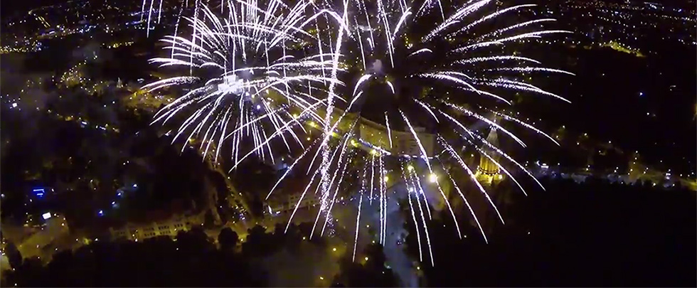 foc de artificii filmat din drona