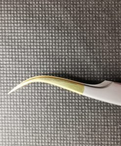 Dumont shape Curved Eyelash Extension Tweezers - White with golden tip