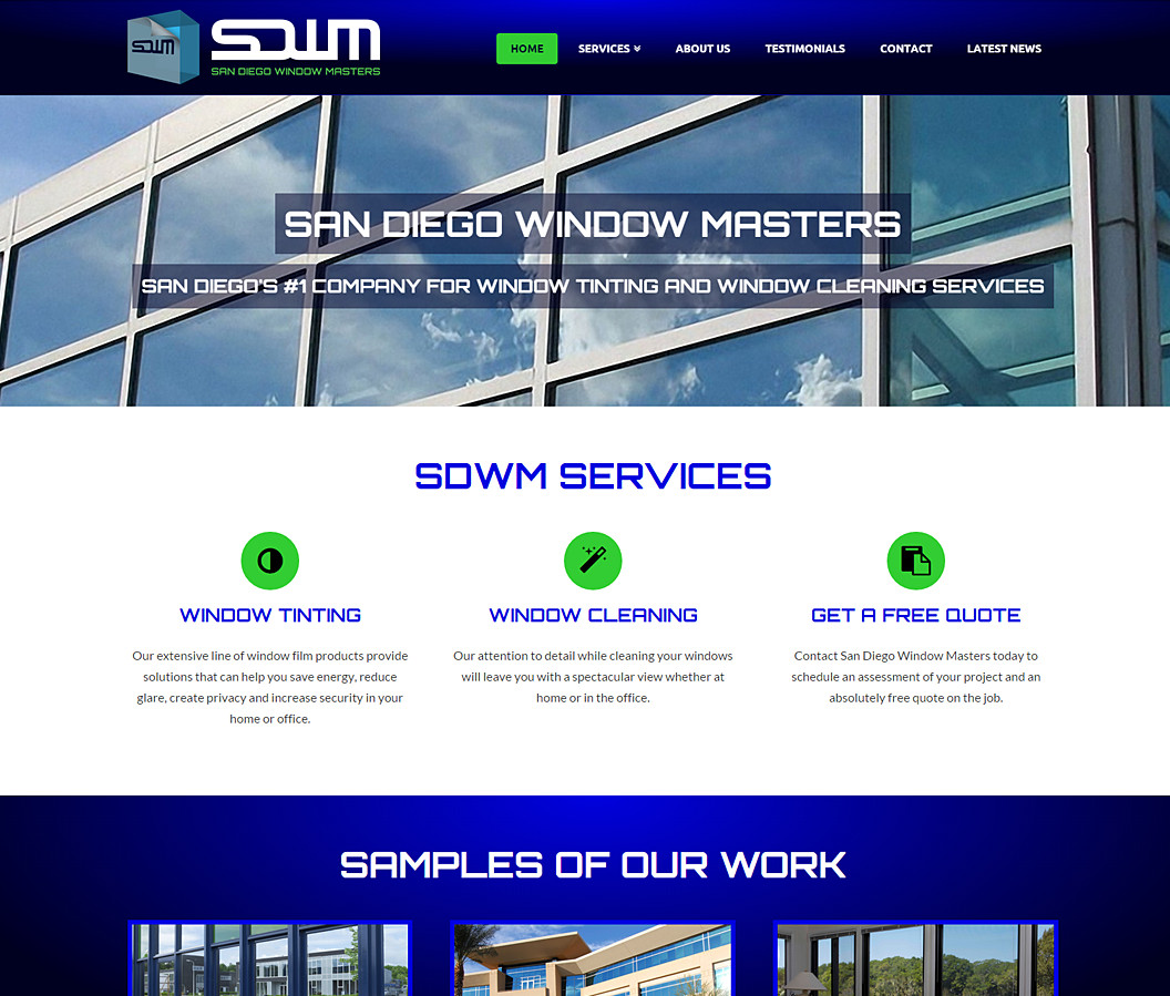 Website and Logo for San Diego Window Masters
