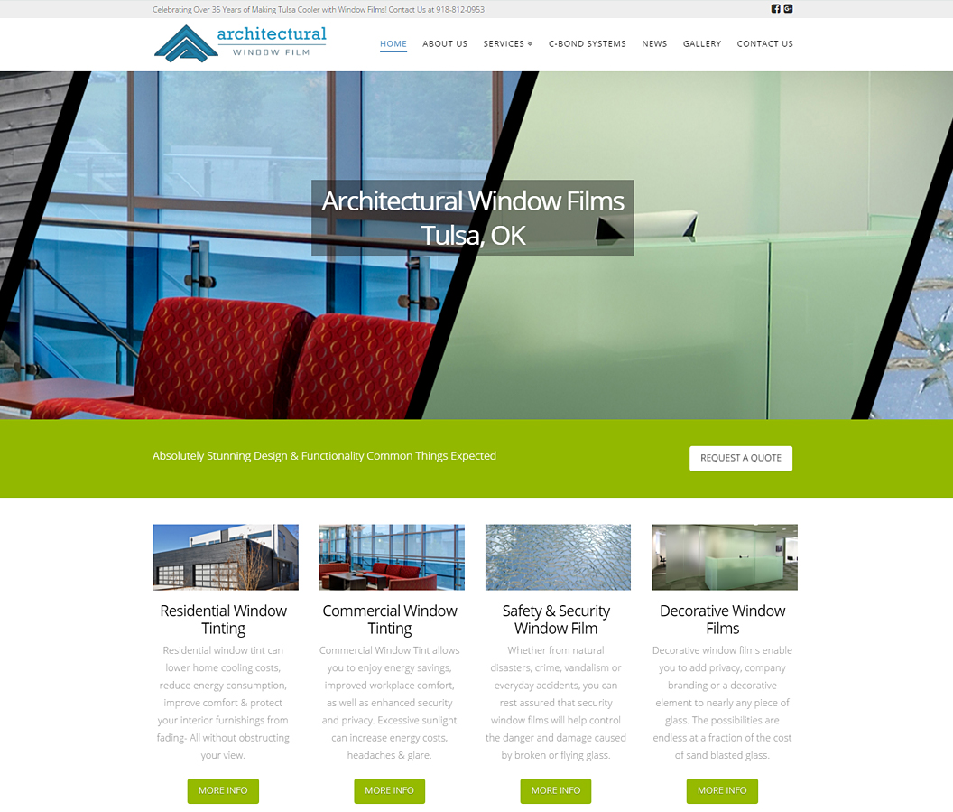 Architectural Window Film Website by Eye Magnet Managment