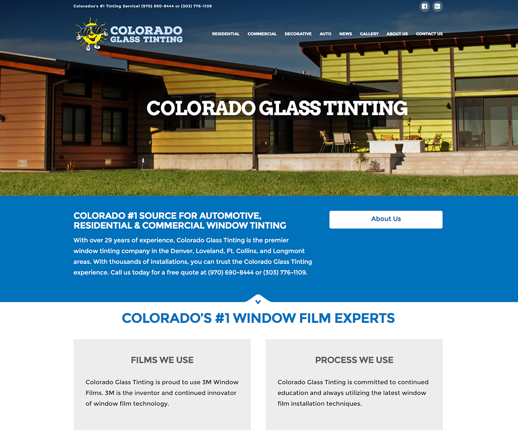 Colorado Glass Tinting Website Build by Eye Magnet Managment