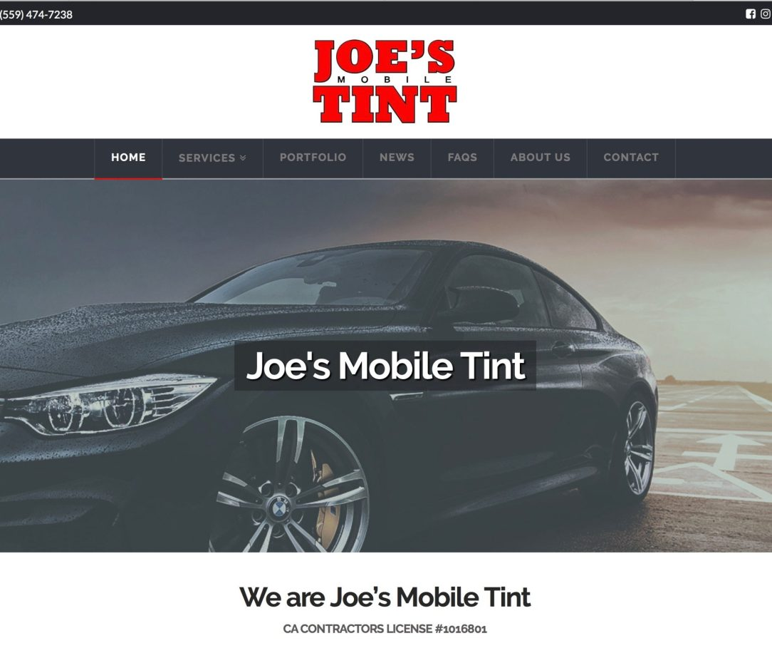 Joe's Mobile Tint Website Build and Ongoing Marketing