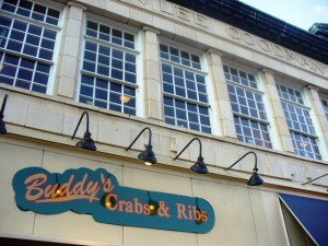Iconic Buddy's Crabs & Ribs at the base of Main Street