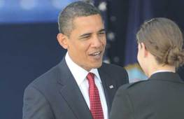 President Obama congratulates a new 2ndLt