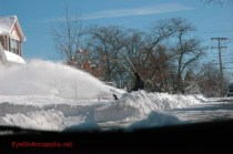 Snow blowing on King James Landing Road