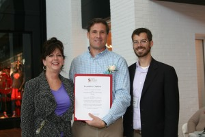 Pam Jordan, Director of the Anne Arundel County Department of Aging and Disabilities and Councilman Chris Trumbauer present an Executive Citation toBrian Jamieson, President of the Board of Directors of CRAB.