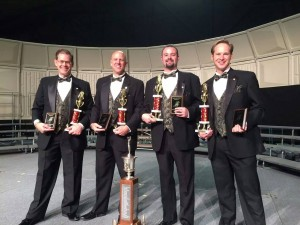 Last Men Standing topped a field of 25 quartets to become the 2015 Mid-Atlantic District  Quartet Champions on Saturday night in Wildwood, NJ.  (l to r: Ed Bell, baritone; Mike Kelly, bass; Drew Feyrer, lead; TJ Barranger, tenor) (photo by Jeff Porter, Bryn Mawr, PA Chapter)