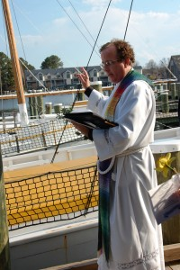The Chesapeake Bay Maritime Museum in St. Michaels, Md. invites the public to come by land or water to help welcome the boating season with a Blessing of the Fleet ceremony on Wednesday, April 22. Led by the Reverend Kevin M. Cross of The Church of the Holy Trinity in Oxford, Md., shown here, the ceremony is scheduled to begin at 5 p.m. under the museum's 1879 Hooper Strait Lighthouse, and includes a presentation of the colors and an a capella performance of the Star Spangled Banner and Navy Hymn. In the event of rain, the ceremony will be moved inside to the museum's Small Boat Shed. For more information, visit www.cbmm.org.