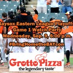 Baysox hosting playoff watch party at Grotto Pizza on Wednesday