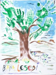 "A painting by a child from Brits-Hartbeespoort Hospice in South Africa. Bana lesedi is Swahili for ""children of light."""