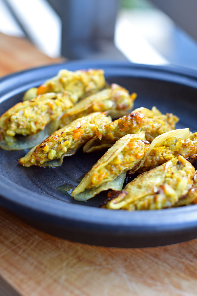 healthy gyoza with meat and vegetable fillings