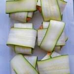Zucchini gyoza in glass pan