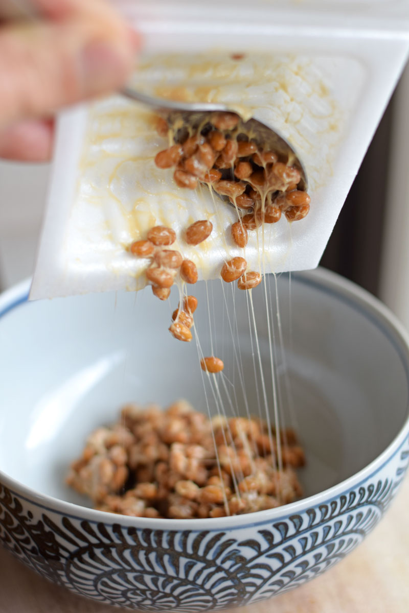 sticky natto in styrofoam package