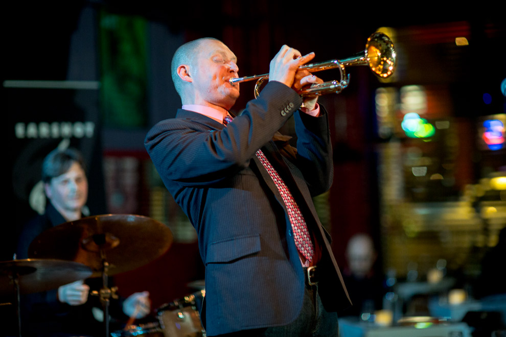 Thomas Marriott plays with his jazz band Flexicon at the Seattle Jazz CLub Tula's.